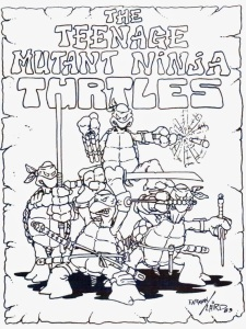 Eastman and Laird's first group sketch of the Turtles, 1983 (copyright the artists)